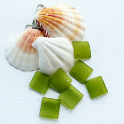 2 Sea Glass Beads Cultured Concave Square Shape with Drilled Hole - U050
