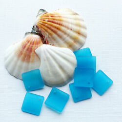2 Sea Glass Beads Cultured Concave Square Shape with Drilled Hole - U053