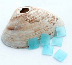 2 Sea Glass Beads Cultured Concave Square Shape with Drilled Hole - U052