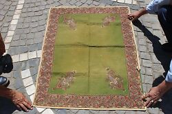 ANTIQUE ORIGINAL HANDMADE PERSIAN FULL WOOL SILK MIXED TEXTILE