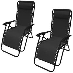 Foldable Chaise Loungers Set of 2 Leisure Pool Deck Beach Chairs Patio Furniture