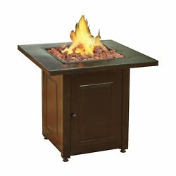 Propane Fire Pit Patio Heater Antique Hammered Bronze Finish Outdoor Gas Table