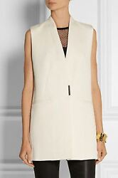 HELMUT LANG Ivory Mineral Vest Petite S Cotton Wool Sleeveless Top Jacket NEW