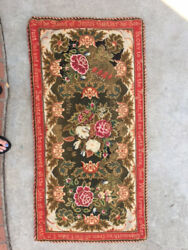 Antique American needlepoint rug stitched in 1871 museum quality textile