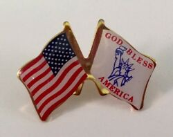 AMERICAN FLAG W GOD BLESS AMERICA LIBERTY Friendship Flag Lapel Pin MADE IN USA