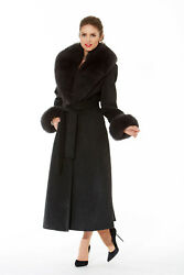 Womens Cashmere Coat with Real Fox Fur Collar & Cuffs Charcoal Grey