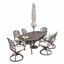 Floral Blossom Taupe Oval Outdoor Table and Six Swivel Chairs Dining Set with