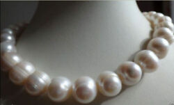 Big 10 11mm Natural WHITE FRESHWATER CULTURED PEARL NECKLACE 18 INCHES $7.94