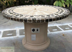 GAS FIREPLACE FIRE PIT OUTDOOR MARBLE MOSAIC TOP Lava Rocks 48