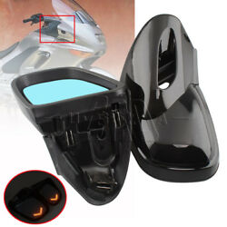 Pair Vivid Black Motorcycle LED Turn Signal Rearview Mirrors For BMW K1200 99-08