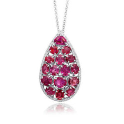 14 and 18K White Gold 11ct TGW Ruby and White Diamond Pendant Necklace