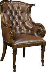 ARM CHAIR NEUTRAL PAIR UPHOLSTERED FULL GRAIN LEATHER SOLID MAHOGANY NEW