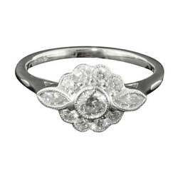 Delightful 18ct White Gold And Diamond Daisy Cluster Ring