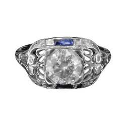 Intricate Platinum Sapphire and Diamond Solitaire Ring