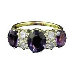 Magnificent Amethyst And Diamond 7 Stone Ring