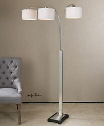 Adjustable Contemporary Silver Floor Lamp Three Shade Arms Modern $468.60