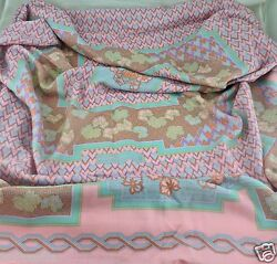 WOMEN'S SCARF SHAWL LARGE HERMES PINK & LIGHT TURQUOISE CASHMERE SILK 52
