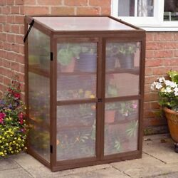 Garden Mini 2 Shelf Greenhouse Solid Wood Cold Frame Locking Doors Drainage