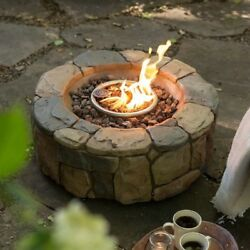 Fire Pit Pits Portable Propane Bowl Rocks Gas Fireplace Stone Outdoor Patio Gift