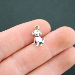 15 Little Dog Charms Antique Silver Tone Puppy Charm SC5058 $3.49
