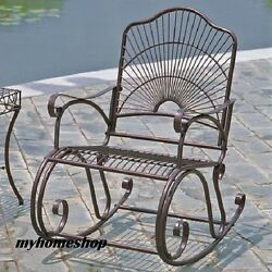 Patio Wrought Iron Metal Rocking Chair Rocker Antique Scrolled Bronze Garden
