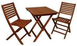 Garden Bistro Hardwood Table Set with 2 Folding Chairs [ID 2260486]