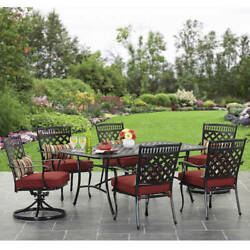 Patio Dining Set 7Pcs Rust-proof Table Porch Cast Frame 6 Seat Outdoor Furniture