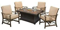 Slate Topped Gas Firepit Table Set in Antique Bronze [ID 3684288]