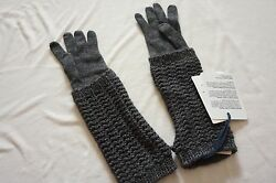 Moncler Guanti dark GRAY Wool Cashmere Long Knit Gloves Arm Warmers