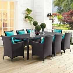 Modway Furniture Convene 9 Piece Outdoor Patio Dining Set in Espresso Turquoise