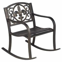 Antique Bronze Finish Metal Fleur-de-Lis Patio Rocking Chair Home Outdoor Garden