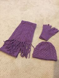 Brooks Brothers Women's CashmereWool Purple Scarf Hat and Gloves Set