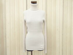 MNT Auth CHANEL Turtleneck Sweater Size 36 100% Cashmere Beige 23141225200 jF