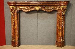 Ancient fireplace wood paint golden lacquered console italian furniture 800 XIX