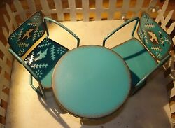 Miniature Fairy Garden Blue Retro Lawn Table & Chairs Gypsy by Genevieve Gail