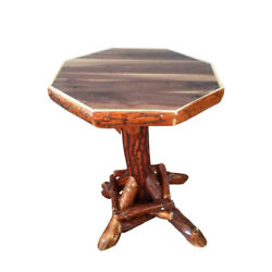 Rustic Sassafras Log Octagon End Table with Walnut Top - Amish Made in USA