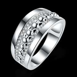 Fashion 925Sterling Solid Silver Jewelry Crystal Geometry Rings For Women R1009