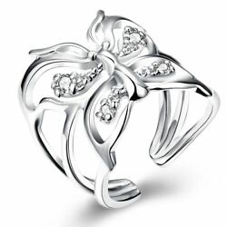 Fashion 925Sterling Solid Silver Jewelry Crystal Butterfly Rings For Women R035