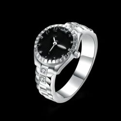 Fashion 925Sterling Solid Silver Jewelry Crystal Watch Rings For Women R887