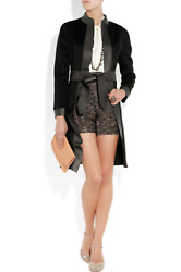 VALENTINO Women's Black Wool Cashmere Leather Coat 12 NEW