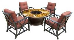 5-Pc Gas Firepit Table Set in Antique Bronze [ID 3684221]