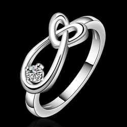 Fashion 925Sterling Solid Silver Jewelry Crystal Heart Rings For Women R658