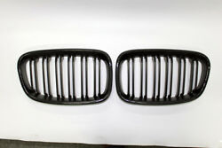 New 2Pcs For BMW 1 Series F20 12-14 2 Slat Front Grille Matte Black ABS+Carbon