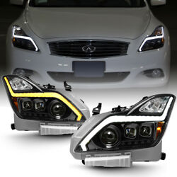 Black LED Switchback Headlights w Sequential Signal For 2008-2015 G37 Q60 Coupe $408.99