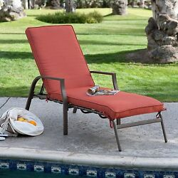 Red Cushion Metal Chaise Lounge Chair Home Outdoor Seating Furniture Garden Deck