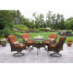 Dining Set Patio Furniture Garden Glass Table Outdoor Porch Yard 4 Wicker Seats