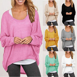 Women Plus Size Long Sleeve Pullover T-shirt Lady Loose Baggy Casual Tops Jumper $13.67