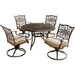 Patio Dining Set Garden Furniture Round Table Outdoor 4 Deep Swivel Rockers Yard