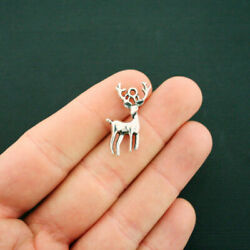 6 Stag Charms Antique Silver Tone 2 Sided Deer Hunting Charm SC2389 $3.99