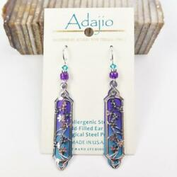 Adajio Earrings Purple and Teal Long Column with Shiny Silver Floral Overlay